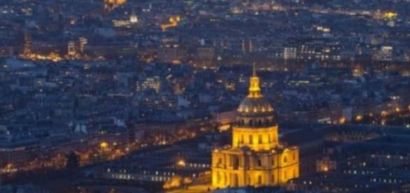 A drone can be seen flying over Paris