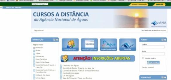 Foto/Reprodução do site com cursos a distância ANA