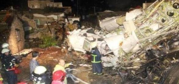 O avião que caiu em Taiwan