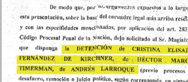 El documento, con la orden de detención resaltada
