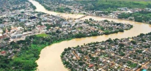 A cidado do Rio Branco antes das enchentes