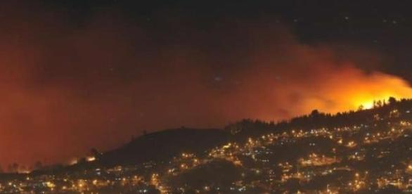 Vista de incendio en Chile