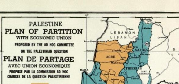 UNGA 181 map. Future government of Palestine 1947.