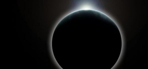 Animierte Nachbildung einer Sonnenfinsternis.