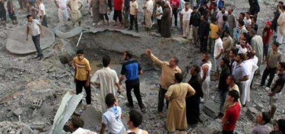 Les ville de Raqqa, en Syrie, est ruinée.