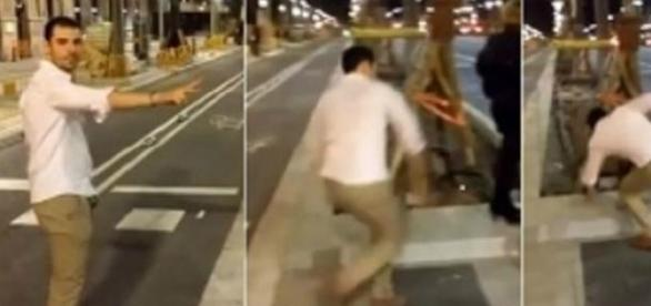 Mario García Montealegre agrediendo a la mujer