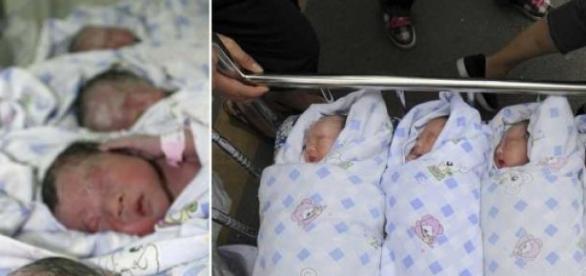 Quadrigêmeos são saudáveis e mãe morre após parto
