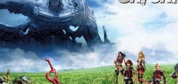 Shulk y sus compañeros en el mundo de Bionis