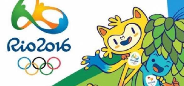 O logo das Olimpíadas e os Mascotes Vinicius e Tom