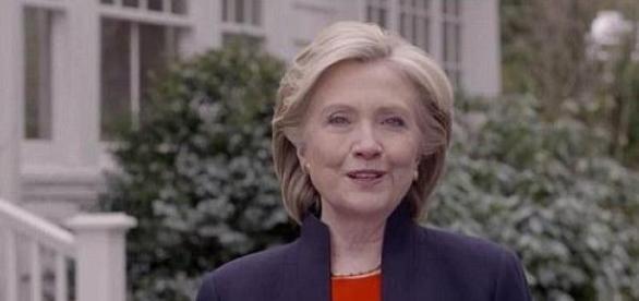 Hillary Clinton no vídeo de candidatura.
