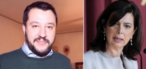 Il segretario della Lega Salvini e la Boldrini