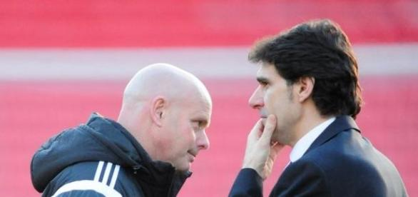 Boro boss Aitor Karanka and assistant Steve Agnew
