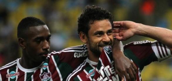 Fred comemorando seu gol contra o Botafogo