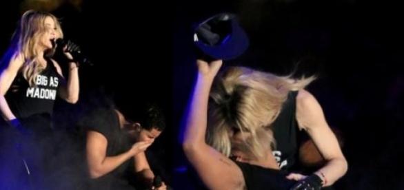 Madonna beija cantor à força, mas ele limpa a boca