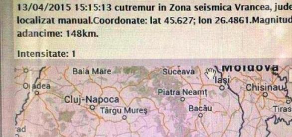 Seism de 3,6 grade în Vrancea - a două zi de Paşti