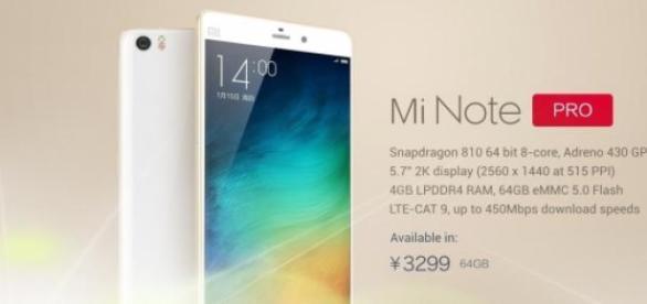 Xiaomi Mi Note Pro: nueva phablet de 5,7 pulgadas.