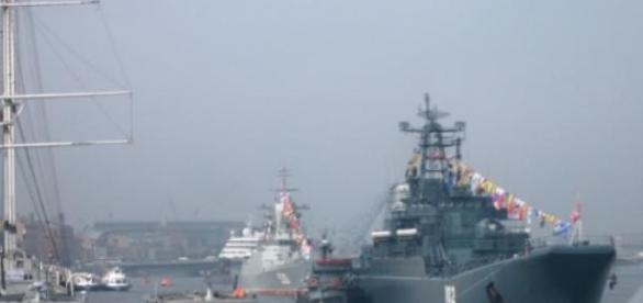 Russian warship going about its business