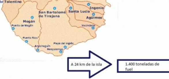 Mapa de la zona sur de Gran Canaria