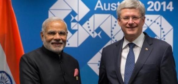 Narendra Modi et Stephen Harper.