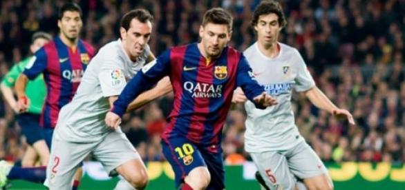 Messi durante un partido frente al Atlético