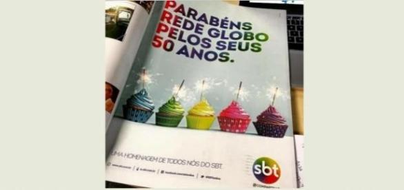 SBT faz propaganda parabenizando TV Globo
