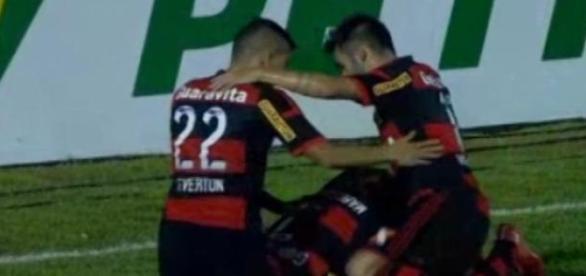 Comemoração dos jogadores do Flamengo