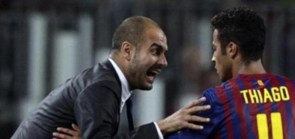 Guardiola e Thiago de regresso a Barcelona
