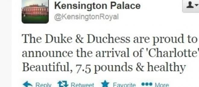 kate Middleton urodziła córeczkę! Jak dano na imię Royal Baby 2? Nazywać sie będzie Charlotte! To piękna, zdrowa, ważąca 7,5 funta dziewczynka - poinformowano na Twitterze Pałacu Kensington.Gratulujemy rodzicom!<br />