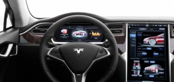 """Interior del Tesla """"S"""" en imagen de archivo"""