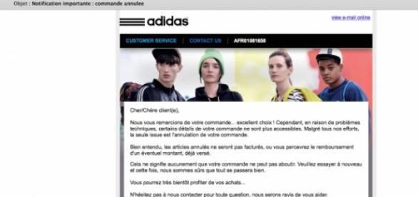 Le mail d'annulation d'Adidas.
