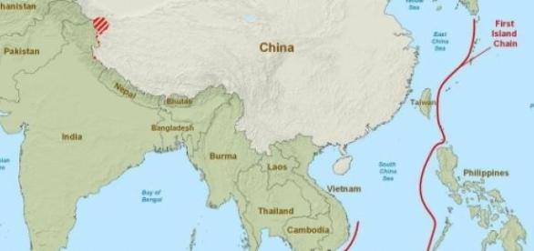 Map of seas China has access to (South China Sea)