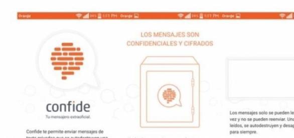 Apariencia Confide, nueva app mensajeria