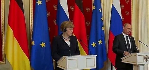 Merkel i Putin, 10 maja 2015, Moskwa