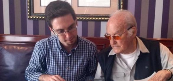 Pedro Estepa y Gil Parrondo, durante el rodaje