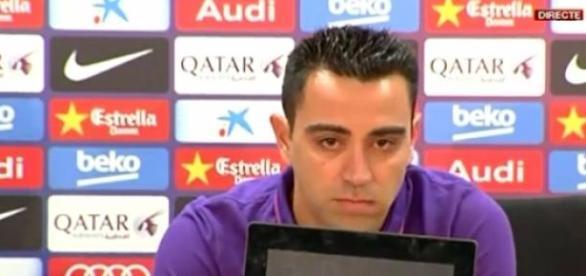 Xavi Hernández durante la rueda de prensa