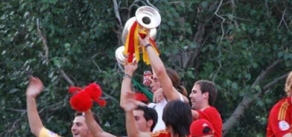 La selección española celebrando la Eurocopa