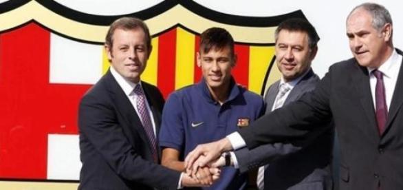 Sandro Rosell, Neymar, Bartomeu y Zubizarreta