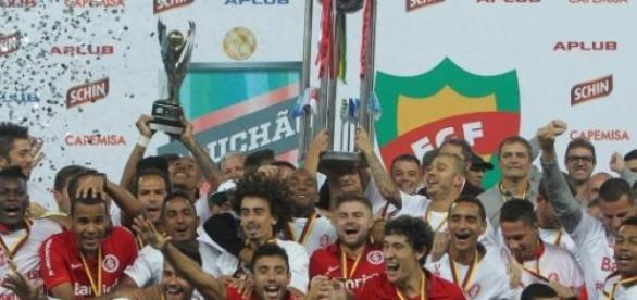 Jogadores do Inter comemoram a conquista de 2015