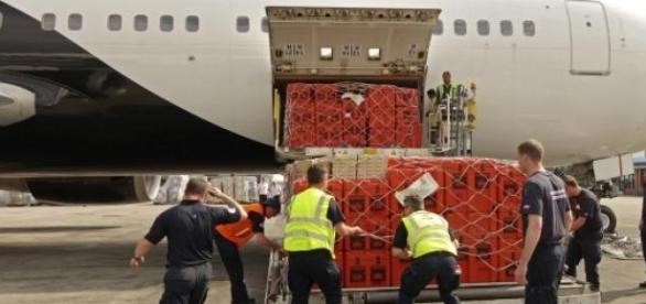 Unloading of relief supplies at Tribhuvan Airport