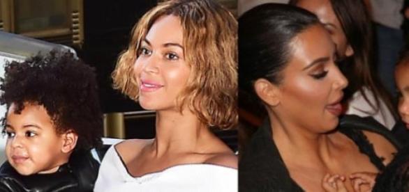 Beyoncé com Blue Ivy e Kim Kardashian com North