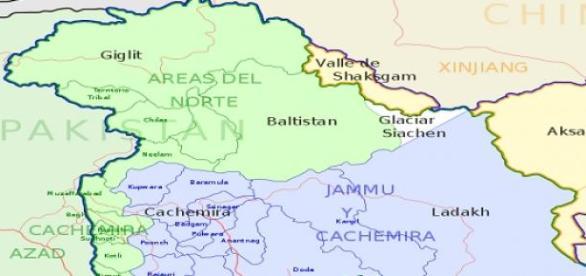 Mapa de la zona de Cachemira