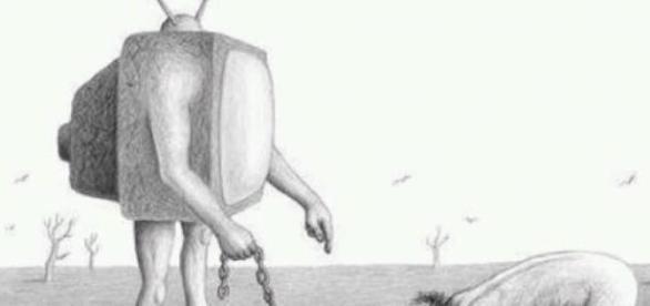 Manipulare TV - imagine satirică