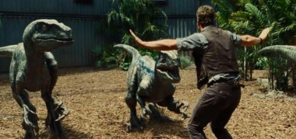 Chris Pratt tames the Velociraptors
