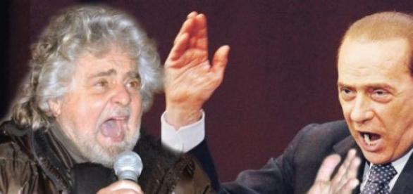 Grillo e Berlusconi in un fotomontaggio