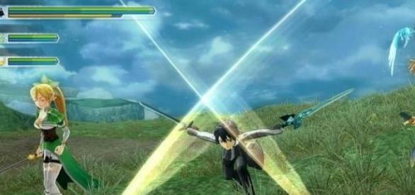 Kirito, el protagonista, en pleno combate.