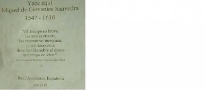 Errata en la lápida de Cervantes