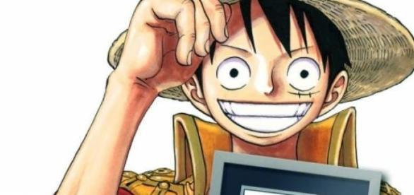 Luffy sosteniendo la condecoración
