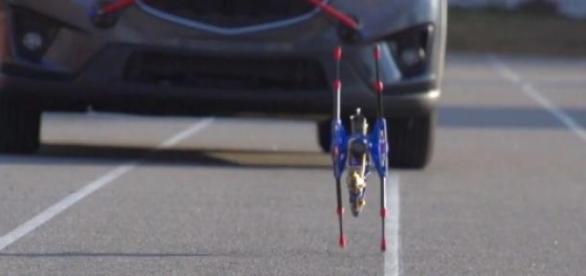 O OutRunner em teste, correndo a frente do carro.