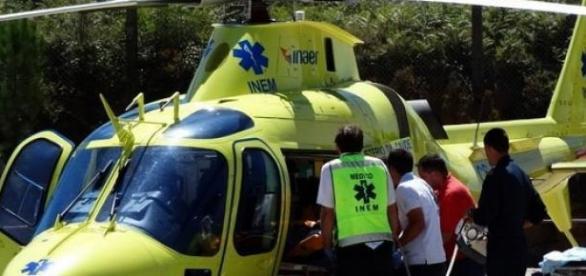 Ferido grave foi levado de helicóptero para Lisboa