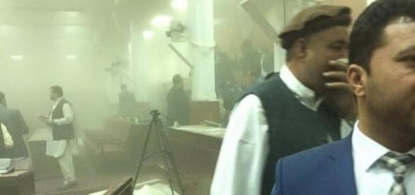 Chaos and dust at the Afhgan parliament